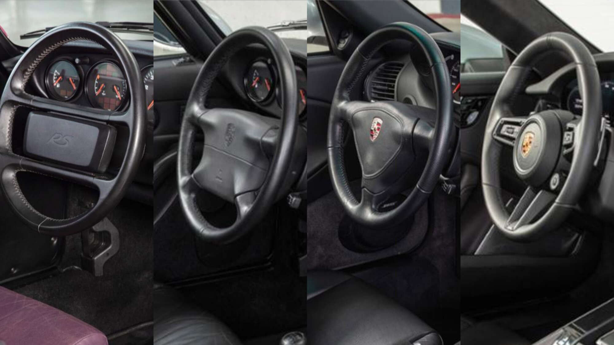 The generations of the 911 Porsche steering wheel